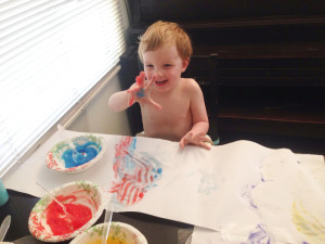 red & blue finger paint